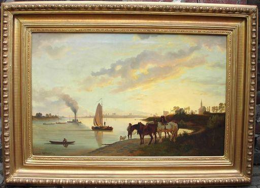 R.P. BÜHL - Peinture - boten op sleep op rivier