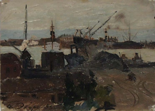 "Boris EBERS - Painting - ""Odessa Harbour"", Oil Painting, 1935"