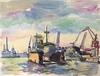 Paul WENDT - Disegno Acquarello - Hamburger Haven