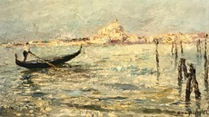 Otto Eduard PIPPEL - Painting - Gondolliere vor Basilika della Salute, Venice, Venedig