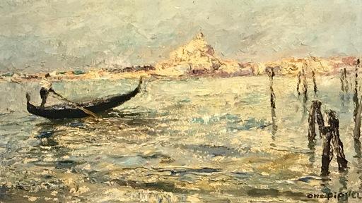 Otto PIPPEL - Gemälde - Gondolliere vor Basilika della Salute, Venice, Venedig