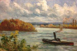 Maximilien LUCE - Painting - Rolleboise le Remorqueur