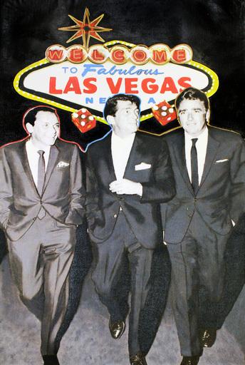 Steve KAUFMAN - 绘画 - The Rat Pack Walk Las Vegas