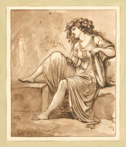 Carlo LABRUZZI - Disegno Acquarello - Bacchantin mit Tamburin, nach links auf einem Steinsockel si