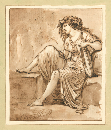 Carlo LABRUZZI - Drawing-Watercolor - Bacchantin mit Tamburin, nach links auf einem Steinsockel si