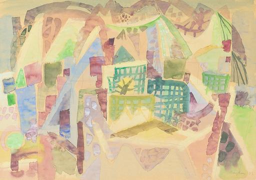 Eduard BARGHEER - Drawing-Watercolor - Frühling am Berg