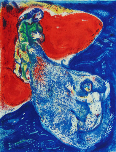 Marc CHAGALL - Grabado - When Abdullah got the Net Ashore