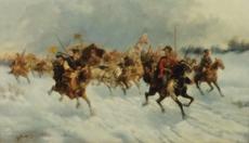 Adolf BAUMGARTNER-STOILOFF - Painting - Goldtransport durch Sibirien , Gold Trans Siberia,Russia