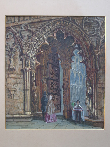 Paul MARNY - Dibujo Acuarela - At the Cathedral (Rouen, France?)