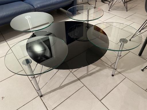 Michel BOYER - Table verre noir - Michel Boyer