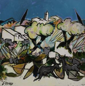 Claude VENARD - Pintura - Jeu de chèvres