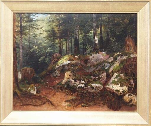 "Anton HANSCH - Pittura - ""In Forest"" attributed to Anton Hansch, middle 19th Century"