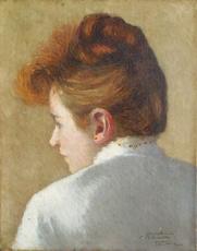 Frédéric WENZ - Pintura - preparing the wedding veil - detail one portrait