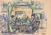 "Franz POMASSL - Zeichnung Aquarell - ""Street Cafe"" 1970s, drawing"