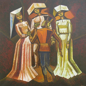 "Sergey BORISOV - Pittura - ""Dance"" Medieval shapes 0f 3 womens with man"