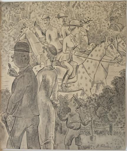 Alois ERBACH - Drawing-Watercolor - Der Sonntagsspaziergang