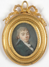 "Augustin Christian RITT (Attrib.) - Miniatura - ""Portrait of a young aristocrat"", miniature on ivory"