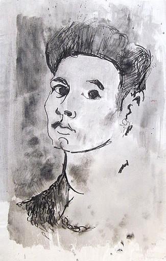 Friedrich EINHOFF - Drawing-Watercolor - #20002: Frauenporträt im Halbprofil.