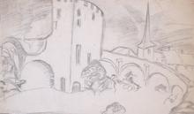 Herman KRUYDER - Dibujo Acuarela - View of a city