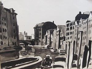 Paul MECHLEN - Drawing-Watercolor - Fleet in der Hamburger Altstadt.