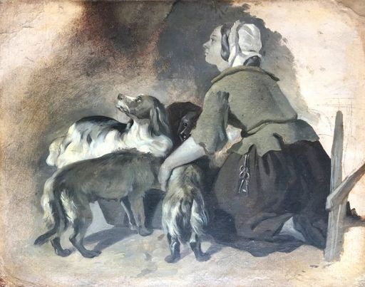 "Edwin Henry LANDSEER - Painting -  Emma Landseer feeding the dogs ""Scottish dogs"""