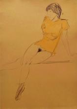 Otto MUELLER - Drawing-Watercolor - Sitzende in durchsichtigem Hemdchen