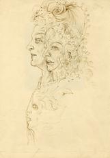 Salvador DALI - Drawing-Watercolor - Trois visages de Shakespeare