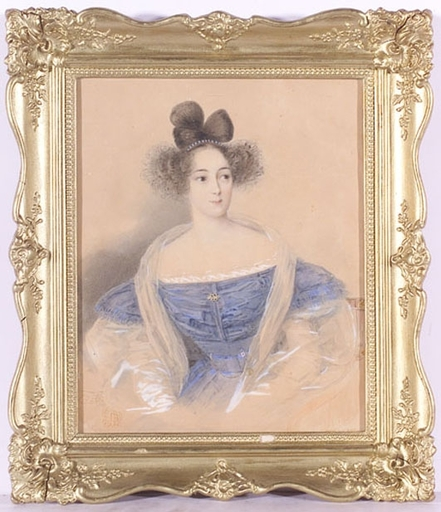 "Julius Ludwig SEBBERS - Dibujo Acuarela - ""Young Lady"", 1831, Watercolor"