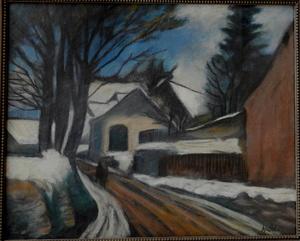 Alfred JUSTITZ - 绘画 - Zimná krajina s chalupou