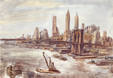 Reginald H. MARSH - Drawing-Watercolor - Brooklyn Bridge and Lower Manhattan 2