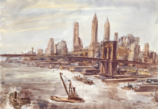 Reginald H. MARSH - Dibujo Acuarela - Brooklyn Bridge and Lower Manhattan 2