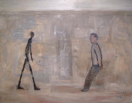María GOMEZ - Painting - Encuentros con Giacometti
