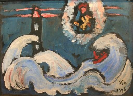 Jules PARESSANT - Painting - La tempête près du phare