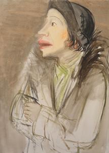 Karl HUBBUCH - Painting - Lissy im Pelzmantel mit Hut