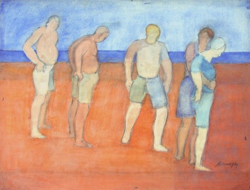Ivan PETROVSKY - Drawing-Watercolor - Grupo en Playa