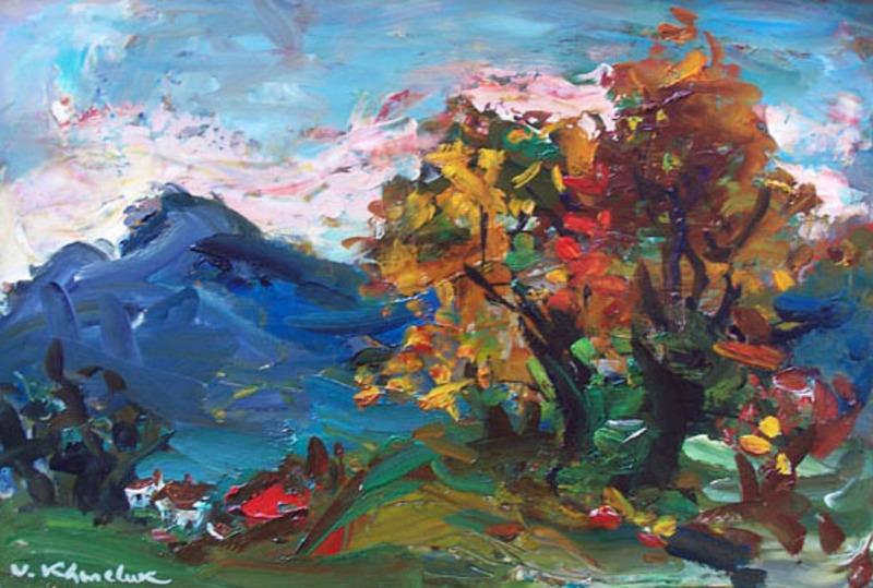 Vasyl KHMELUK - Painting - Landscape in Gruyere