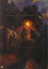 Ulpiano CHECA Y SANZ - Painting - Diligence nocturne - Omnibus à Paris