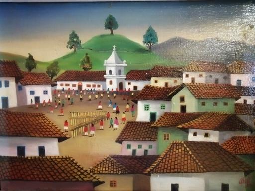 Absalon MOYANO - Painting - Village en Equateur