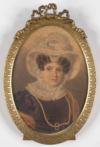 "Charles GOMIEN - Miniatura - ""Portrait of a Lady"", 1827, Large Miniature"