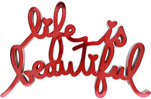 MR BRAINWASH - Escultura - Life Is Beautiful - Hard Candy Light Red