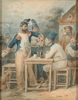 "Hippolyte BELLANGÉ - Dibujo Acuarela - ""Quarrel"", 1823, Watercolor"