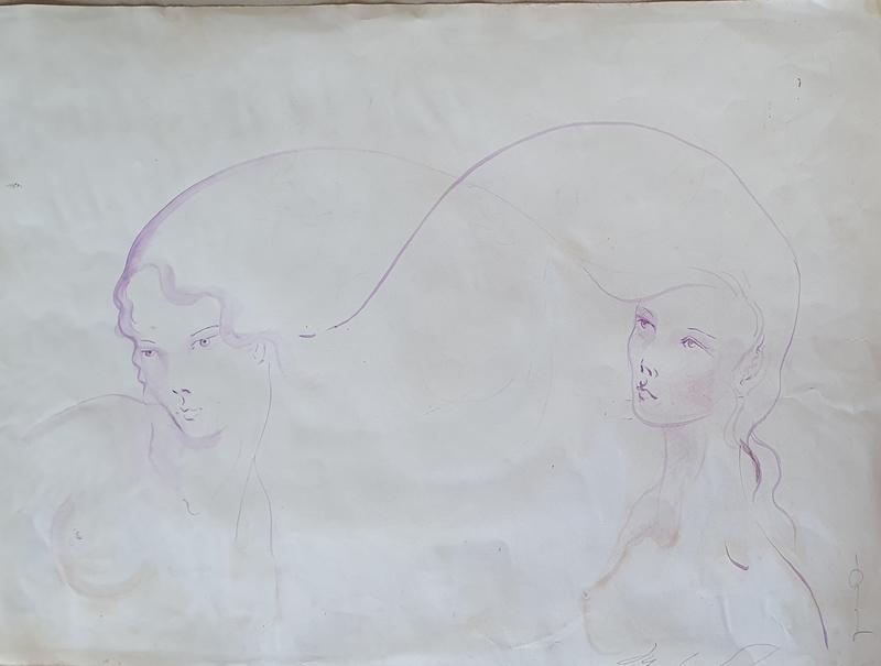 Yuko SHIRAISHI - Drawing-Watercolor - Two Japanese Girls