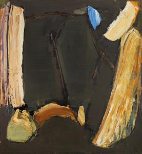 Olivier DEBRÉ - Peinture - Sombre du jardin de Cachan aux barres ocres