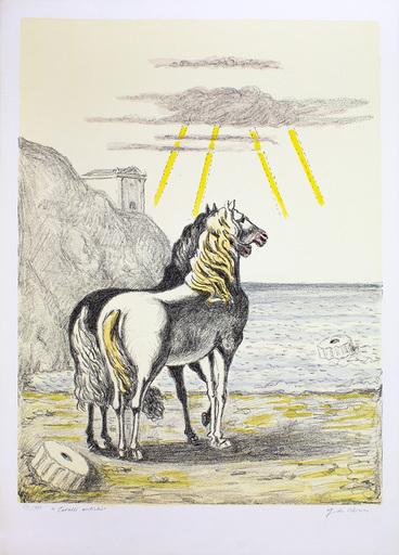 """乔治•德•基里科 - 版画 - Cavalli antichi, 1969 """"Cavalli mediterranei"""""""