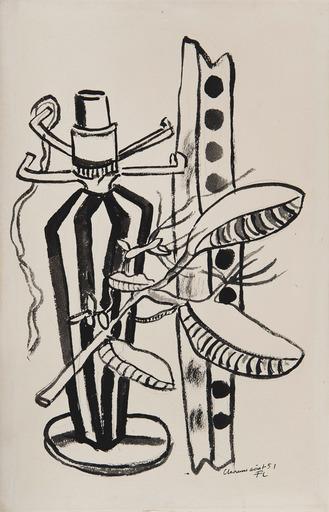 Fernand LÉGER - Dessin-Aquarelle - Nature morte au pied de lampe et branche