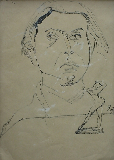 Dezso BOKROS BIRMAN - Dibujo Acuarela - (Self?)Portrait and study for a sculpture