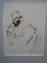 Georges KARS - Drawing-Watercolor - Homme écrivant
