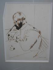 Georges KARS - Dessin-Aquarelle - Homme écrivant