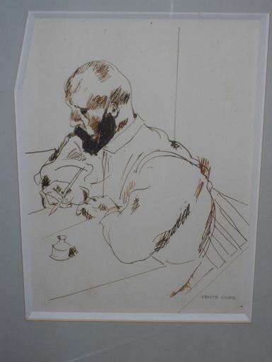 Georges KARS - Dibujo Acuarela - Homme écrivant