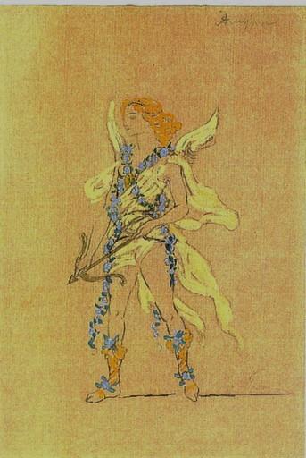Aleksandr Jakovlevic GOLOVIN - Dibujo Acuarela - Costume design for an Amour